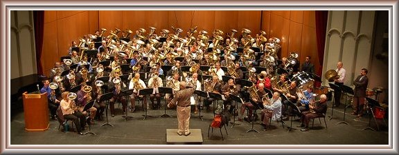 Tommy Johnson Tribute Concert with 99 Tubas, Jim Self conducting. (Click for larger image.)