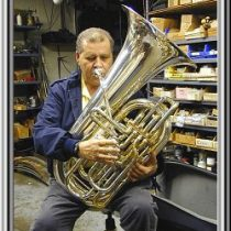 Tommy Johnson tries out a custom double tuba